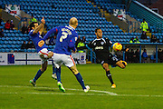 \Portsmouth FC Midfielder Kyle Bennett hits the volly during the Sky Bet League 2 match between Carlisle United and Portsmouth at Brunton Park, Carlisle, England on 21 November 2015. Photo by Craig McAllister.