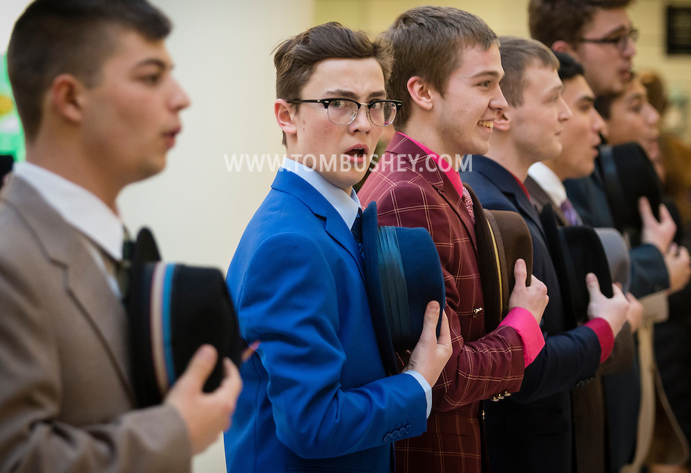 "Town of Wallkill, New York - Valley Central High School students perfrom a song from ""Guys and Dolls"" during the Orange County Arts Council's All-County High School Musical Showcase and Arts Display at the Galleria at Crystal Run on Feb. 27, 2016."