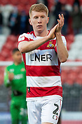 Brad Halliday of Doncaster Rovers claps towards the Doncaster Rovers fans at full time during the EFL Sky Bet League 1 match between Doncaster Rovers and Wycombe Wanderers at the Keepmoat Stadium, Doncaster, England on 29 February 2020.