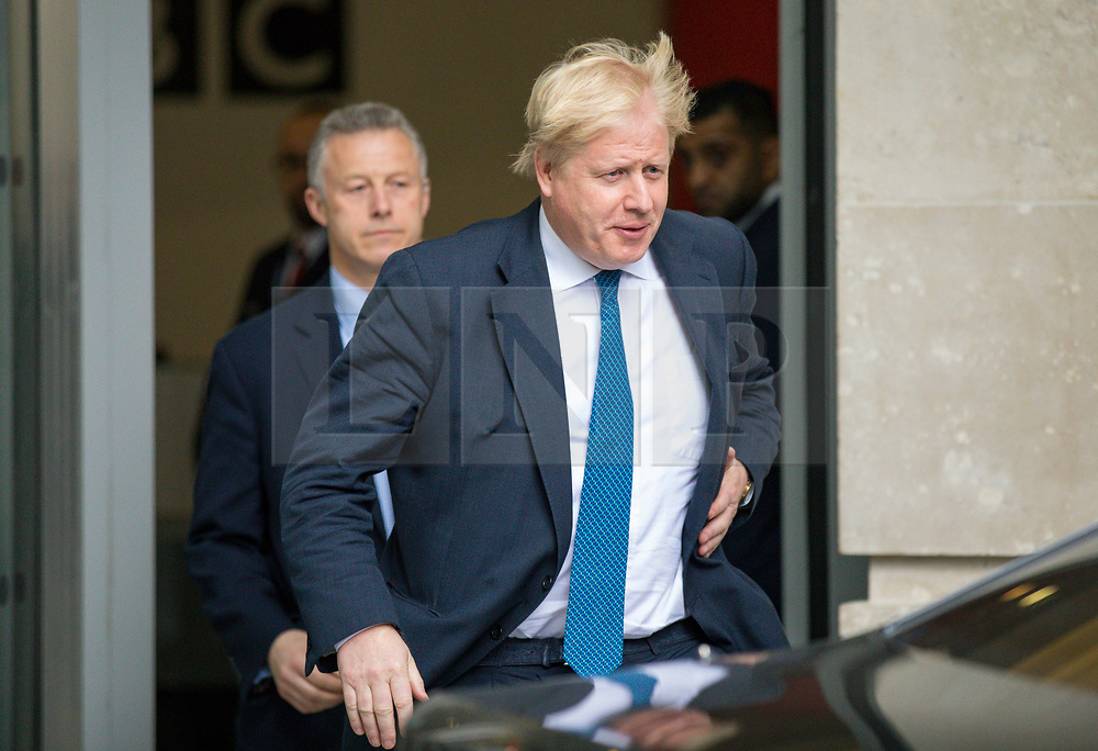 © Licensed to London News Pictures. 15/04/2018. London, UK. Foreign Secretary BORIS JOHNSON leaves BBC Broadcasting House after appearing on the Andrew Marr Show. Photo credit: Rob Pinney/LNP