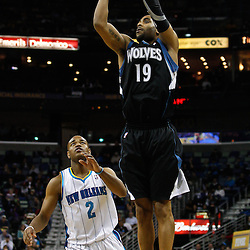 February 7, 2011; New Orleans, LA, USA; Minnesota Timberwolves guard Wayne Ellington (19) shoots over New Orleans Hornets point guard Jarrett Jack (2) during the fourth quarter at the New Orleans Arena. The Timberwolves defeated the Hornets 104-92.  Mandatory Credit: Derick E. Hingle
