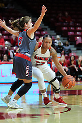 NORMAL, IL - December 16: Mary Barton guards Viria Livingston during a college women's basketball game between the ISU Redbirds and the Maryville Saints on December 16 2018 at Redbird Arena in Normal, IL. (Photo by Alan Look)