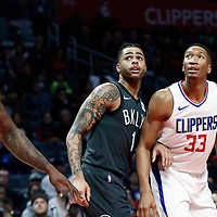 04 March 2018: Brooklyn Nets guard D'Angelo Russell (1) vies for the rebound with LA Clippers forward Wesley Johnson (33) and LA Clippers center DeAndre Jordan (6) during the LA Clippers 123-120 victory over the Brooklyn Nets, at the Staples Center, Los Angeles, California, USA.
