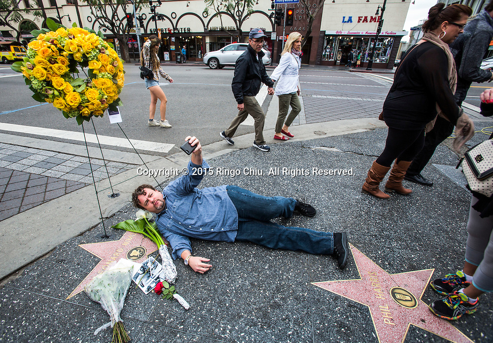 "Bill Palmer takes photos at the Hollywood Walk of Fame star of Leonard Nimoy in Los Angeles Friday, February 27, 2015. Nimoy, famous for playing officer Mr. Spock in ""Star Trek"" died Friday, Feb. 27, 2015 in Los Angeles of end-stage chronic obstructive pulmonary disease. He was 83."
