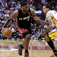 10 March 2011: Miami Heat small forward LeBron James (6) drives past Los Angeles Lakers small forward Matt Barnes (9) during the Miami Heat 94-88 victory over the Los Angeles Lakers at the AmericanAirlines Arena, Miami, Florida, USA.