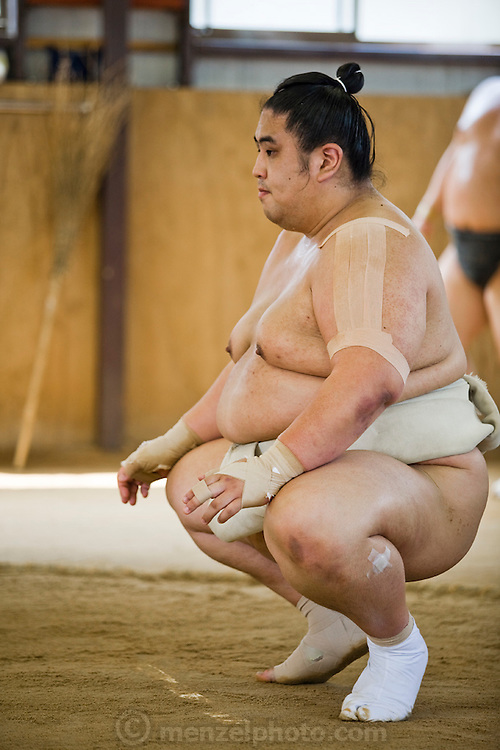 Masato Takeuchi (ring name Miyabiyama), a sumo wrestler at the junior champion level (sekiwale) practices for a tournament in Nagoya, Japan. (Masato Tekeuchi is featured in the book What I Eat: Around the World in 80 Diets.) MODEL RELEASED.