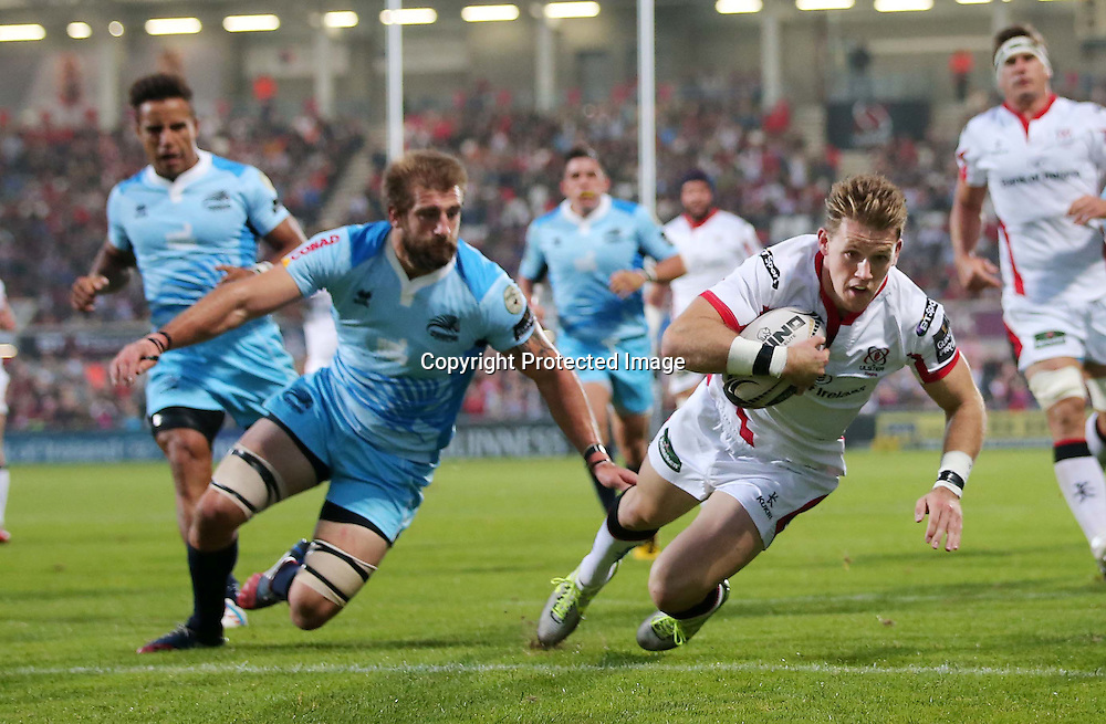 Guinness PRO12, Kingspan Stadium, Belfast 12/9/2014<br /> Ulster vs Zebre<br /> Ulster's Craig Gilroy runs in their second try<br /> Mandatory Credit &copy;INPHO/Presseye/Darren Kidd