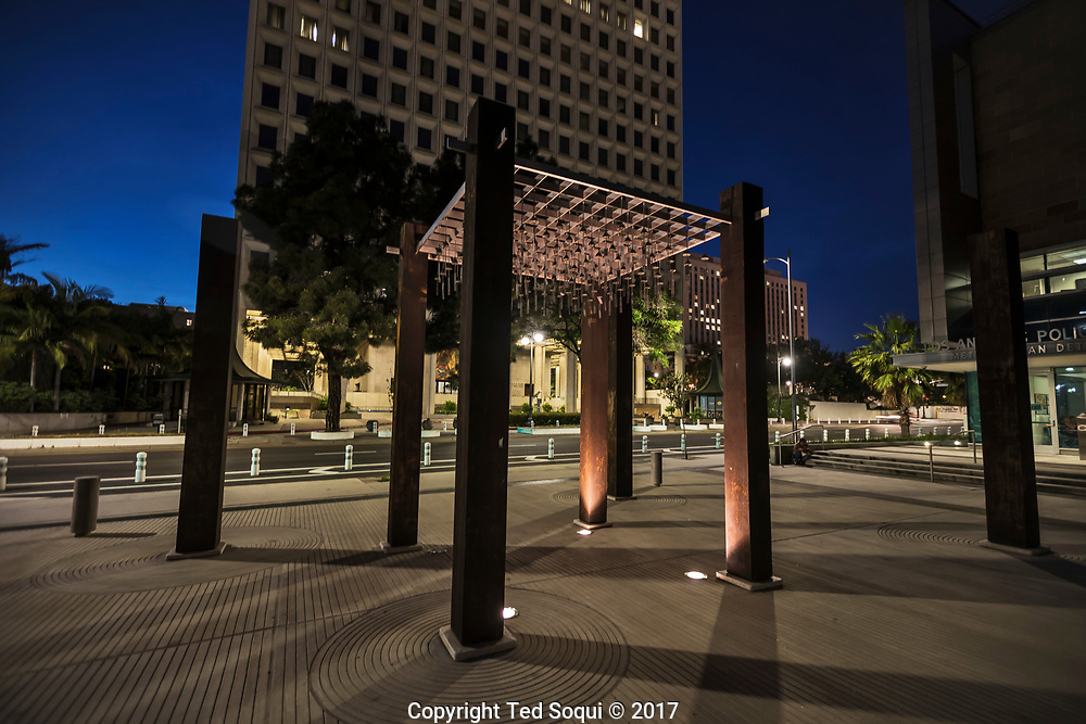 An art installation now stands where a parking kiosk once was next to LAPD Parker Center.<br /> <br /> 25 before and after LA92 photo project.