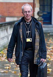 © London News Pictures. 20/11/2012. London, UK . Dr Justin Welby, The new Arch Bishop of Canterbury in waiting arriving at Church House in Westminster, London for day two of the three-day Church of England General Synod. Members will vote on whether to allow women to become bishops, 20 years after the Church decided to ordain women as priests. Photo credit: Ben Cawthra/LNP
