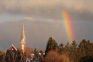 Middletown, N.Y. - A rainbow appears near the steeple of St. Joseph's Church after an April shower on April 13, 2006.
