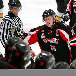 AURORA, ON - Jan 17 : Ontario Junior Hockey League Game Action between the Stouffville Spirit and the Aurora Tigers, Daryl Thomson #10 of the Stouffville Spirit Hockey Club celebrates the goal during first period game action.<br /> (Photo by Brian Watts / OJHL Images)