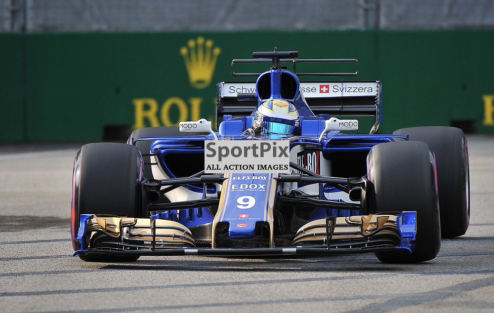 Marcus Ericsson, Sauber F1 Team.<br /> Day 2 of the 2017 Formula 1 Singapore Airlines, Singapore Grand Prix held at The Marina Bay street circuit, Singapore on the 15th September 2017.<br /> Wayne Neal | SportPix.org.uk