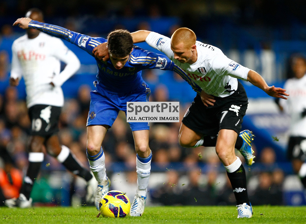 Oscar and Steve Sidwell. Chelsea v Fulham, Premiership, Stamford Bridge London, (c) MATT BRISTOW | STOCKPIX.EU 28 November 2012