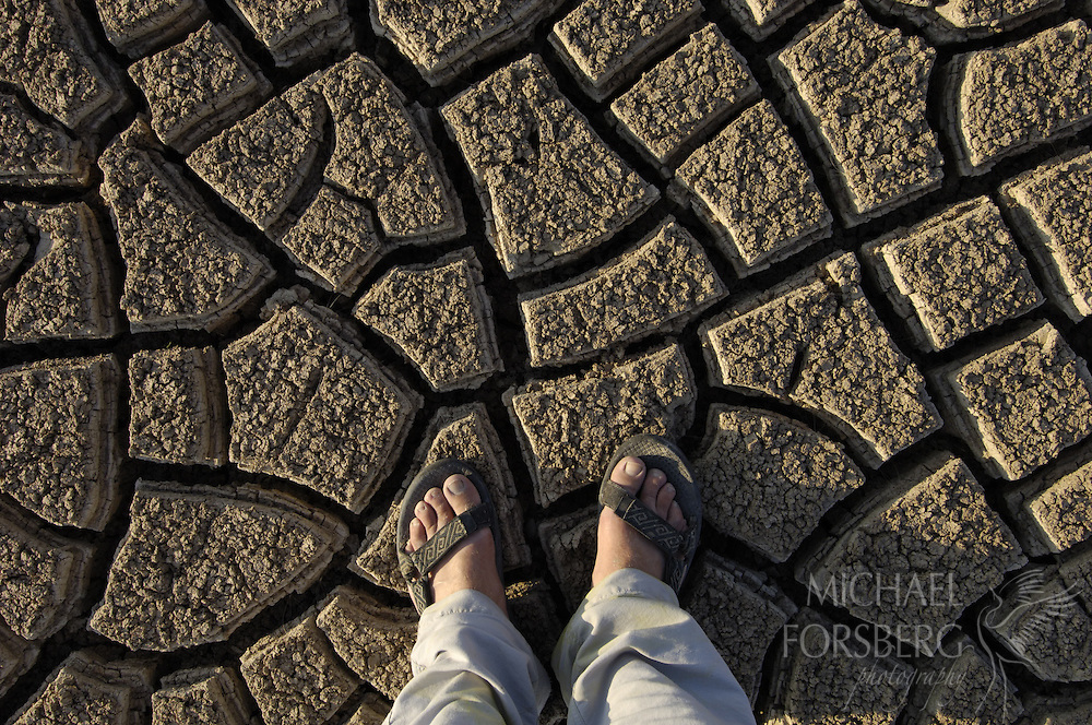 Conata Basin, Buffalo Gap National Grassland, South Dakota..A photographer's feet stand on the cracked earth of a parched wetland during the height of a prolonged summer drought. Six months earlier he would have found himself calf deep in standing water. ..Drought is one of the defining shapers of the Great Plains ecosystem, and is never far removed.