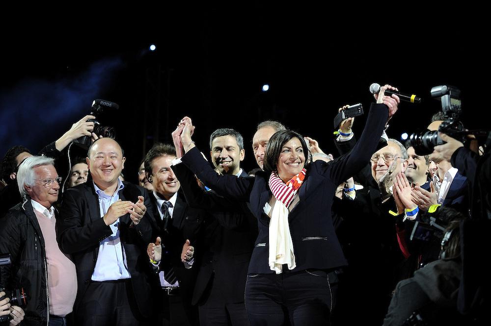 Anne Hidalgo, candidate PS à la mairie de Paris lors de l'annonce des résultats confirmant sa victoire lors des élections municipales, le 3O mars 2014 sur l'esplanade de l'Hôtel de ville de Paris.