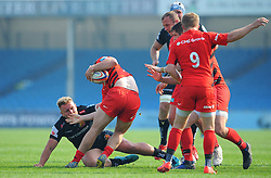 Josh Caulfield of Exeter Braves makes a tackle- Mandatory by-line: Nizaam Jones/JMP - 22/04/2019 - RUGBY - Sandy Park Stadium - Exeter, England - Exeter Braves v Saracens Storm - Premiership Rugby Shield