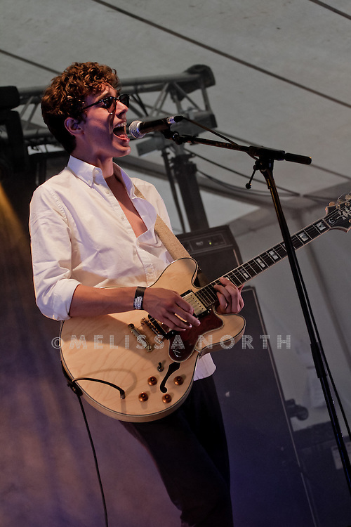 Luke Lalonde of Born Ruffians performs live on stage at Standon Calling, Herts, UK on 13 August 2011. JPH/B2779