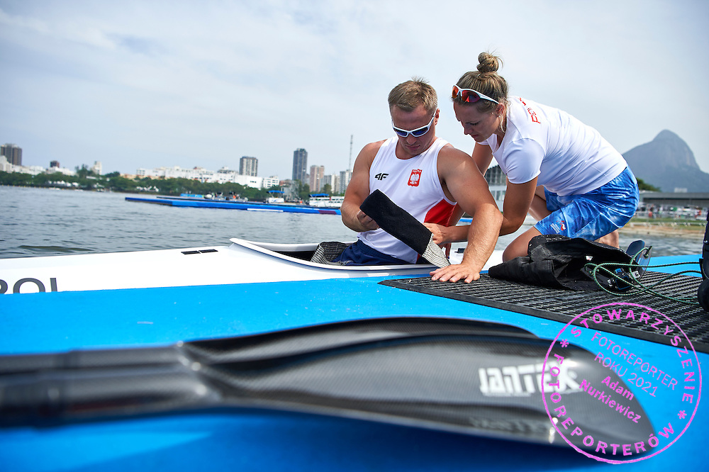 Rio de Janeiro, Brazil - 2016 September 03: (L) Jakub Tokarz and his coach Renata Klekotko both from Poland prepare during canoe sprint training session in Lagoa Stadium while 2016 Summer Paralympic Games on September 03, 2016 in Rio de Janeiro, Brazil.<br /> Rio 2016 Paralympic Games will be held from September 7 until 18.<br /> <br /> Adam Nurkiewicz declares that he has no rights to the image of people at the photographs of his authorship.<br /> <br /> Picture also available in RAW (NEF) or TIFF format on special request.<br /> <br /> Any editorial, commercial or promotional use requires written permission from the author of image.<br /> <br /> Mandatory credit:<br /> Photo by &copy; Adam Nurkiewicz / Mediasport