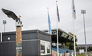 FC Roskildes vartegn Ørnen våger over Roskilde Idrætspark før kampen i NordicBet Ligaen mellem FC Roskilde og Vendsyssel FF den 18. august 2019 i Roskilde Idrætspark (Foto: Claus Birch)