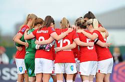 Bristol City Women huddle together before kick-off- Mandatory by-line: Nizaam Jones/JMP - 28/04/2019 - FOOTBALL - Stoke Gifford Stadium - Bristol, England - Bristol City Women v West Ham United Women - FA Women's Super League 1