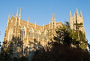 The gothic spires of Duke Chapel soar into the sky. Duke University is a private research university located in Durham, North Carolina, USA. Originally founded by Methodists and Quakers in the present-day town of Trinity in 1838, the school moved to Durham in 1892. In 1924, tobacco industrialist James Buchanan Duke established The Duke Endowment, prompting the institution to change its name in honor of his deceased father, Washington Duke. Besides academics, research, and athletics, Duke is well known for its sizable forested campus, Gothic architecture, and impressive Duke Chapel.
