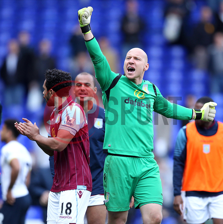 Aston Villa's Brad Guzan celebrates - Photo mandatory by-line: Robbie Stephenson/JMP - Mobile: 07966 386802 - 11/04/2015 - SPORT - Football - London - White Hart Lane - Tottenham Hotspur v Aston Villa - Barclays Premier League