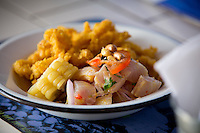 Lima, Peru- March 19, 2015: Ceviche at Hijo de Olaya, one of Lima's newest cevicherias. With some 16,000 cevicherias in the city it's hard to stand out, but Hijo de Olaya has managed to do just that by providing fast service and the freshest product. CREDIT: Chris Carmichael for The New York Times