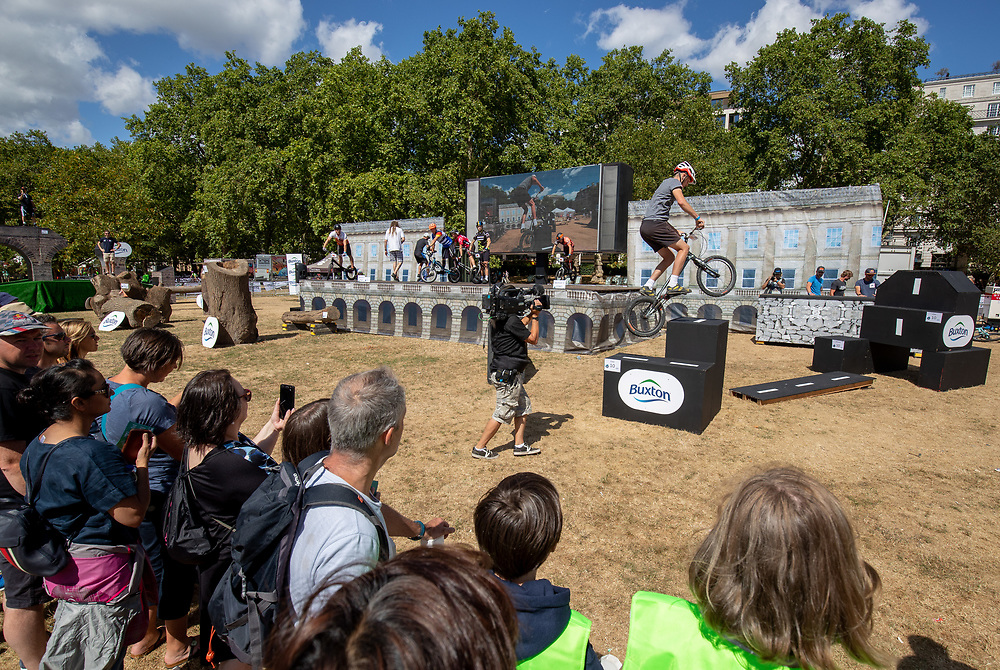 The London Trials Championships Hosted by Buxton in the Green Park Festival Zone. The Prudential RideLondon FreeCycle. Saturday 28th July 2018<br /> <br /> Photo: Jed Leicester for Prudential RideLondon<br /> <br /> Prudential RideLondon is the world's greatest festival of cycling, involving 100,000+ cyclists - from Olympic champions to a free family fun ride - riding in events over closed roads in London and Surrey over the weekend of 28th and 29th July 2018<br /> <br /> See www.PrudentialRideLondon.co.uk for more.<br /> <br /> For further information: media@londonmarathonevents.co.uk