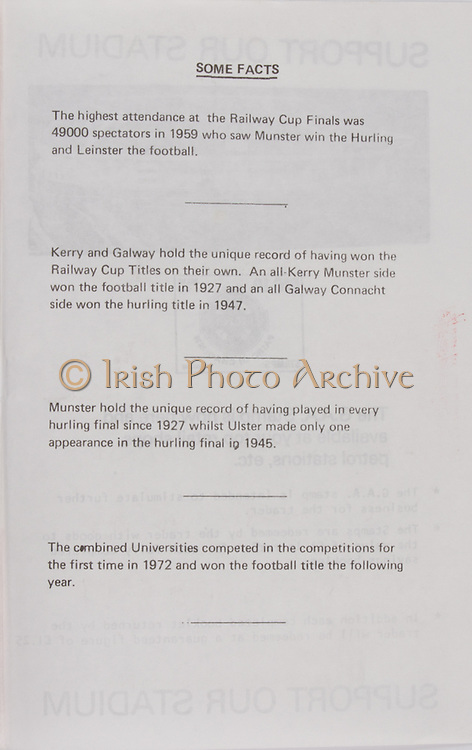 some facts,   Railway Cup Hurling.Munster v Connacht.Pairc Ui Chaoimh.16th April 1978.16.04.1978