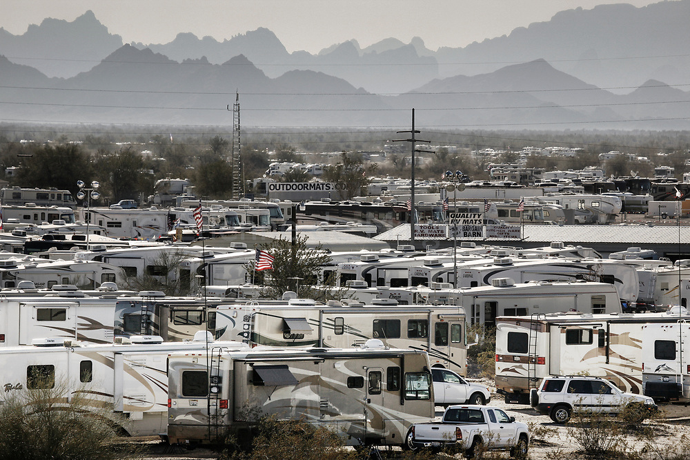 Motor homes parked in one of the 77 RV parks in Quartzsite.<br /> 21 January 2008.