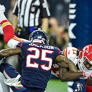 Kansas City Chiefs wide receiver Chris Conley (17) caught a third quarter touchdown pass behind Houston Texans cornerback Kareem Jackson (25) during Saturday's AFC Wild Card football game on January 9, 2016 at NRG Stadium in Houston, Texas. The Chiefs won, 30-0, for their first playoff win in 22 years.