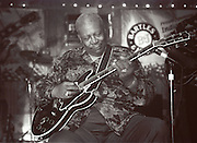 Indianola Mississippi- Multi Grammy winner and legendary blues guitarist B.B. King plays his hometown crowd outside his museum the  B.B. King Delta Interpretive Center and Museum. Photo© Suzi Altman