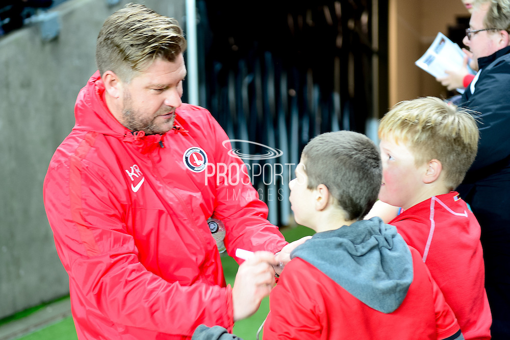 Charlton Athletic manager Karl Robinson during the The FA Cup 2nd round replay match between Milton Keynes Dons and Charlton Athletic at stadium:mk, Milton Keynes, England on 13 December 2016. Photo by Dennis Goodwin.