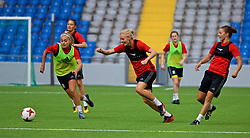 ASTANA, KAZAKHSTAN - Friday, September 15, 2017: Wales' Charlie Estcourt, captain Sophie Ingle and Loren Dykes training at the Astana Arena ahead of the FIFA Women's World Cup 2019 Qualifying Round Group 1 match against Kazakhstan. (Pic by David Rawcliffe/Propaganda)