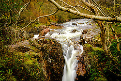 The lower falls on the Water of Nevis where it becomes the River Nevis.  Glen Nevis, Highlands of Scotland<br /> <br /> (c) Andrew Wilson   Edinburgh Elite media