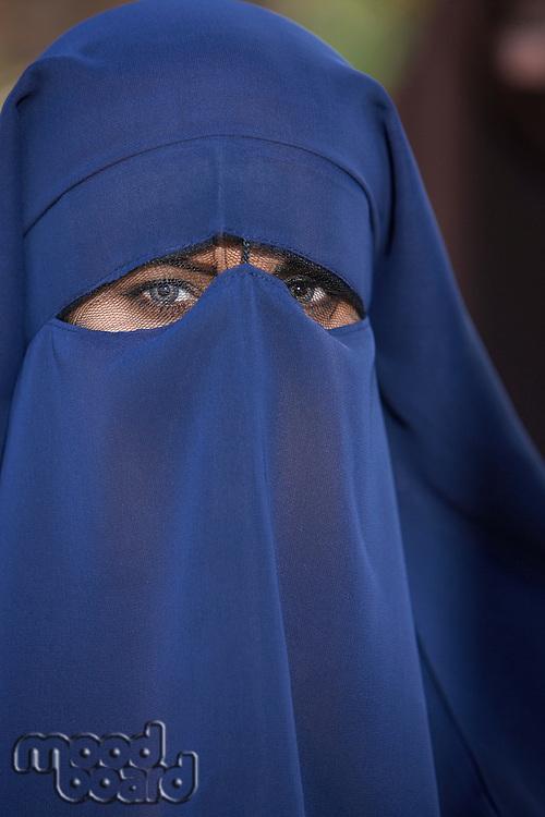 Portrait of muslim woman wearing niqab