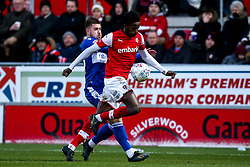 Josh Barrett of Bristol Rovers takes on Matthew Olosunde of Rotherham United - Mandatory by-line: Robbie Stephenson/JMP - 18/01/2020 - FOOTBALL - Aesseal New York Stadium - Rotherham, England - Rotherham United v Bristol Rovers - Sky Bet League One