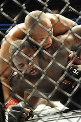 April 8, 2017 - Buffalo, New York, USA - April 8, 2017  - Buffalo, New York, USA - Daniel Cormier (black kit) battles Anthony Johnson (blue kit) during UFC 210 at the KeyBank Center in Buffalo, NY. (Credit Image: © Mike Mastrandrea via ZUMA Wire)