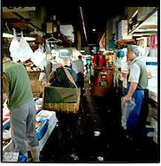 Early morning activity at Tsukiji Fish Market, Tokyo, Japan.