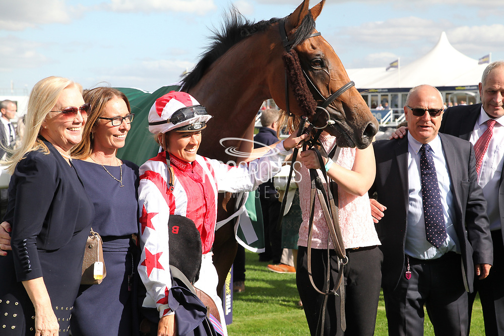 The Winning Connections of DUBAI ACCLAIM after winning The Mondialiste Leger Legends Classified Stakes over 1m (£11,600) with Sammy Jo Bell in the saddle  during the opening day of the St Leger Festival at Doncaster Racecourse, Doncaster, United Kingdom on 11 September 2019.