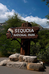 Entrance sign to Sequoia National Park, California, United States of America