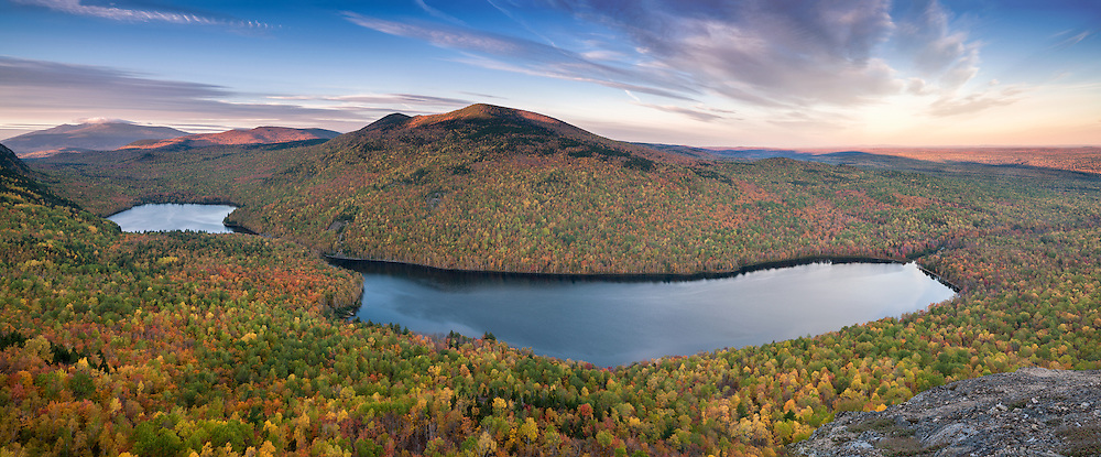 From the higher ridges surrounding Southbranch, the glorious spread of the North  Maine Woods in their fall colors  appear to go on forever. Baxter State Park, Maine, USA
