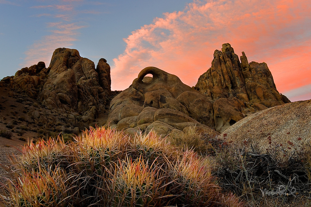 The sunset out in the Alabama Hills was fast approaching. The clouds were in the east so I had to find a different composition for sunset. I was happy to find any Alabama Hills arch at that point. One of the cool things about the Alabama Hills are the hundreds of hidden arches scattered all over the place. I've never photographed this one and was happy to find a cool looking barrel cactus ready for the shooting. I ran out there and enjoy the spectacular sunset.