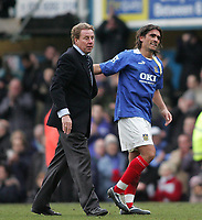 Photo: Lee Earle.<br /> Portsmouth v Manchester City. The Barclays Premiership. 11/03/2006. Pompey manager Harry Redknapp (L) congratulates pedro Mendes at the end of the game.
