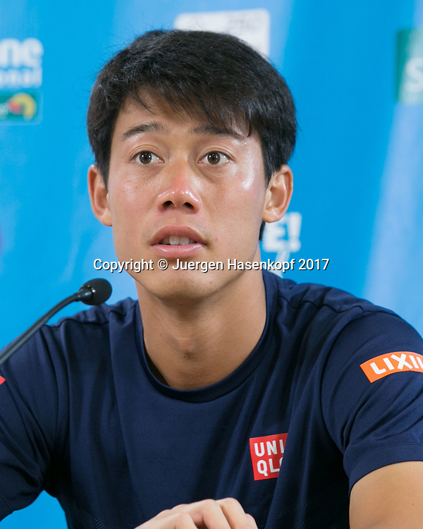 KEI NISHIKORI (JPN), Pressekonferenz, Portrait.<br /> <br /> Tennis - Brisbane International  2017 - ATP -  Pat Rafter Arena - Brisbane - QLD - Australia  - 4 January 2017. <br /> &copy; Juergen Hasenkopf
