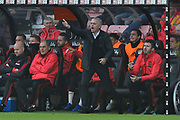 Manchester United manager Jose Mourinho leaps out of his seat in the dug out to shout instructions to his players during the Premier League match between Bournemouth and Manchester United at the Vitality Stadium, Bournemouth, England on 3 November 2018.