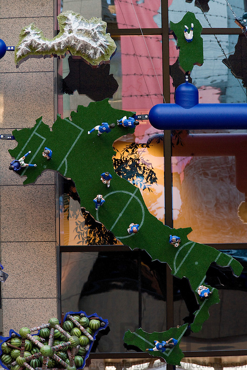 BRUSSELS - BELGIUM - 15 JANUARY 2009 -- The controversial Czech artist David CERNY map of Europe created as a mosaic useing stereotypes for each of the 27 EU countries. Here Italy.  Photo: Erik Luntang