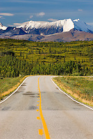 The Richardson Highway with the peaks of the central Alaska Range in the distance.