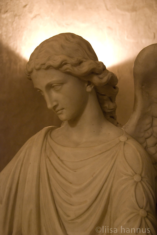 An angel statue in the baptismal chamber, St. Bartholemew's Church, New York City