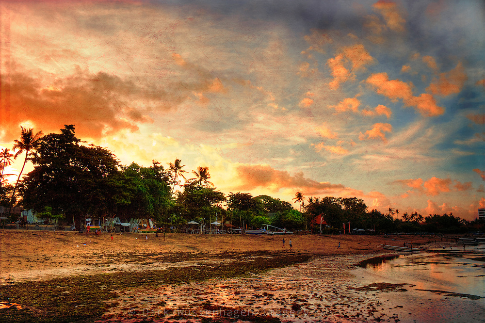 Evening atmosphere on the beach of Sanur, Bali, Indonesia